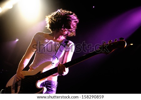 BARCELONA - OCT 10: Belako (Spanish band) perfoms at Apolo stage on October 10, 2013 in Barcelona, Spain. - stock photo