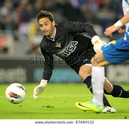 BARCELONA - OCT. 27: Casto Espinosa of Real Betis in action during the spanish league match against RCD Espanyol at the Estadi Cornella on October 27, 2011 in Barcelona, Spain - stock photo