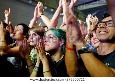 BARCELONA - OCT 10: Crowd in a concert at Sant Jordi Club (venue) on October 10, 2014 in Barcelona, Spain. - stock photo