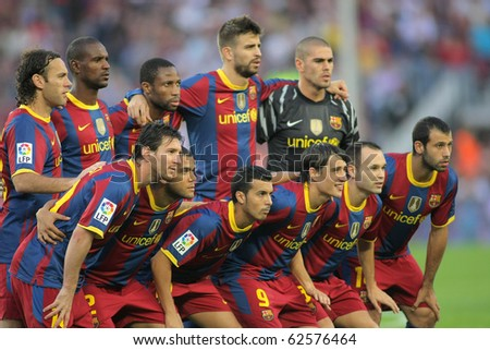BARCELONA - OCT 3: Futbol Club Barcelona Team before the match between FC Barcelona and Mallorca in Nou Camp Stadium in Barcelona, Spain. October 3, 2010 - stock photo