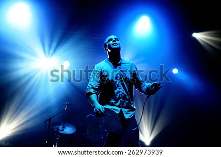 BARCELONA - OCT 20: Future Islands (synthpop electronic dance band) performs at Razzmatazz stage on October 20, 2014 in Barcelona, Spain.