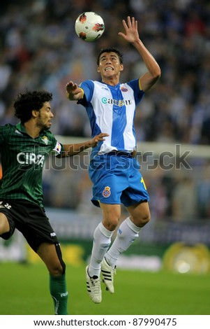 BARCELONA - OCT 27: Hector Moreno of RCD Espanyol in action during the Spanish league match against Betis at the Estadi Cornella on October 27, 2011 in Barcelona, Spain - stock photo
