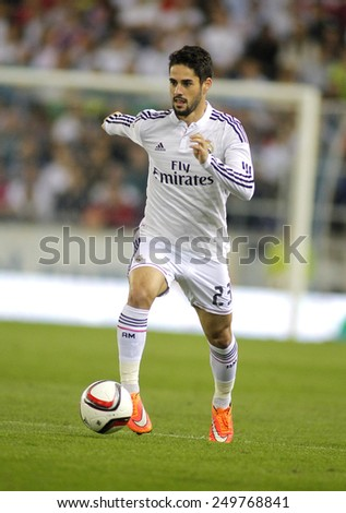 BARCELONA - OCT, 29: Isco Alarcon of Real Madrid during the Spanish Kings Cup match against UE Cornella at the Estadi Cornella on October 29, 2014 in Barcelona, Spain - stock photo