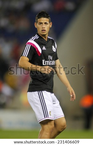 BARCELONA - OCT, 20: James Rodriguez of Real Madrid before the Spanish Kings Cup match against UE Cornella at the Estadi Cornella on October 29, 2014 in Barcelona, Spain - stock photo