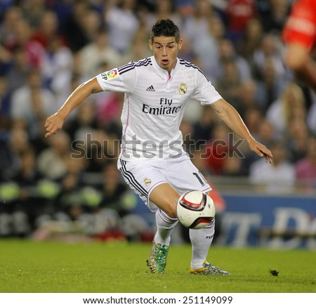 BARCELONA - OCT, 29: James Rodriguez of Real Madrid during the Spanish Kings Cup match against UE Cornella at the Estadi Cornella on October 29, 2014 in Barcelona, Spain - stock photo