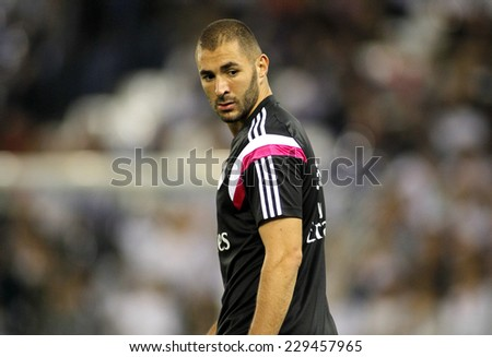 BARCELONA - OCT, 29: Karim Benzema of Real Madrid before the Spanish Kings Cup match against UE Cornella at the Estadi Cornella on October 29, 2014 in Barcelona, Spain - stock photo