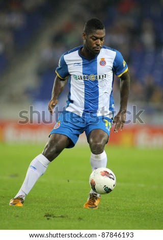 BARCELONA - OCT, 27: Koffi Ndri Romaric of RCD Espanyol in action during the spanish league match against Betis at the Estadi Cornella on October 27, 2011 in Barcelona, Spain - stock photo