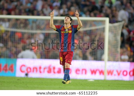 BARCELONA - OCT 3: Leo Messi of FC Barcelona celebrates goal during spanish league match between FC Barcelona and RCD Mallorca at Nou Camp Stadium in Barcelona, Spain. October 3, 2010 - stock photo