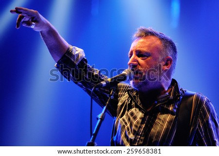 BARCELONA - OCT 10: Peter Hook, Joy Division and New Order bassist, performs Unknown Pleasures at Apolo on October 10, 2010 in Barcelona, Spain. - stock photo