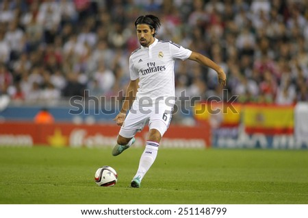 BARCELONA - OCT, 29: Sami Khedira of Real Madrid during the Spanish Kings Cup match against UE Cornella at the Estadi Cornella on October 29, 2014 in Barcelona, Spain - stock photo