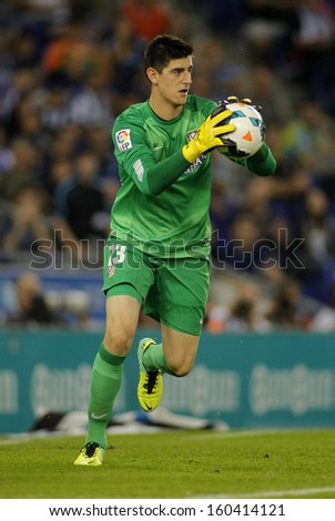 BARCELONA - OCT, 19: Thibaut Courtois of Atletico Madrid during a Spanish League match againts RCD Espanyol at the Estadi Cornella on October 19, 2013 in Barcelona, Spain - stock photo