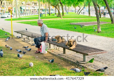 BARCELONA - OCTOBER 22, 2013. A resident of Barcelona resting in the evening in the park with his dogs and feeding birds on October 22, 2013. - stock photo