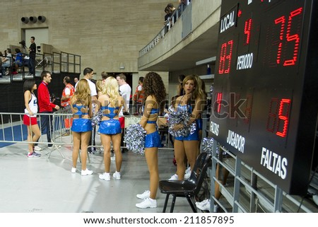 BARCELONA - OCTOBER 9: Dallas cheerleaders at FC Barcelona vs Dallas Mavericks friendly match, final score 99-85, on October 9, 2012, in Palau Sant Jordi stadium, Barcelona, Spain. - stock photo