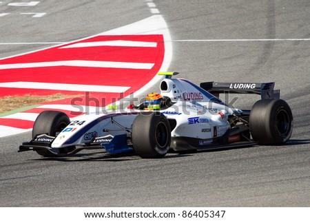BARCELONA - OCTOBER 9: Daniil Move of P1 Motorsport team racing at Formula Renault 3.5 World Series, on October 9, 2011, in Circuit de Catalunya, Barcelona, Spain. The winner was Albert Costa. - stock photo