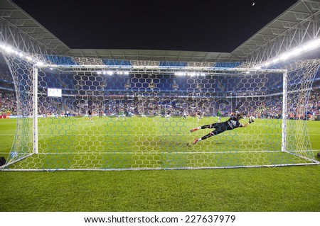 BARCELONA - OCTOBER 29: Fernando Pacheco of RM in action at the Copa del Rey match between UE Cornella and Real Madrid, final score 1 - 4, on October 29, 2014, in Cornella, Barcelona, Spain. - stock photo