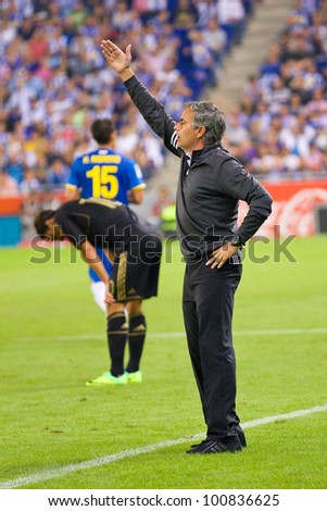 BARCELONA - OCTOBER 2: Jose Mourinho, coach of Madrid, during the Spanish League match between Espanyol and Real Madrid, final score 0 - 4, on October 2, 2011 in Cornella stadium, Barcelona, Spain.
