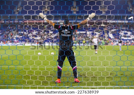 BARCELONA - OCTOBER 29: Keylor Navas of RM in action at the Copa del Rey match between UE Cornella and Real Madrid, final score 1 - 4, on October 29, 2014, in Cornella, Barcelona, Spain. - stock photo