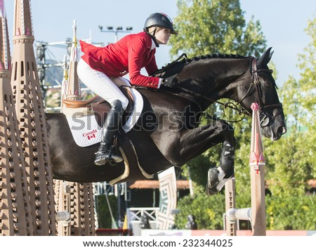 BARCELONA - OCTOBER 09: Tiffany Foster rider in action during the Furusiyya Jumping First Competition in Real Club Polo Barcelona, on October 09, 2014, Barcelona, Spain.