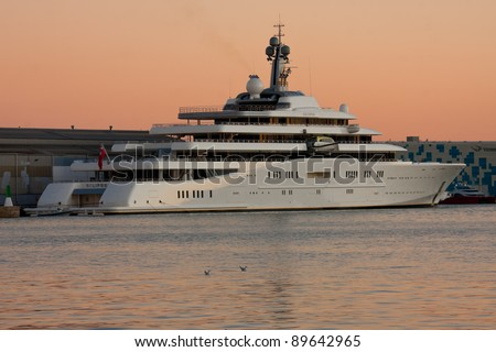 BARCELONA - OCTOBER 11: Yacht Eclipse in the Port of Barcelona on October 11, 2011. The Worlds largest Mega Yacht with 162m. The Yacht is owned by the russian Billionaire Roman Abramovich - stock photo