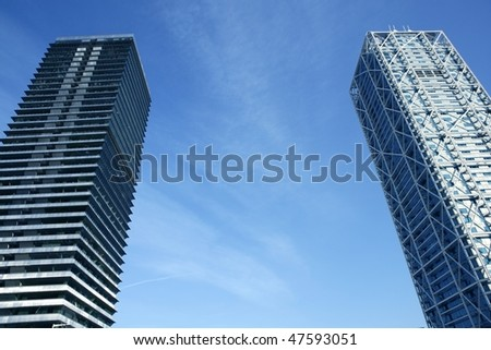 Barcelona Olimpic Villa buildings skyscrapers Spain - stock photo