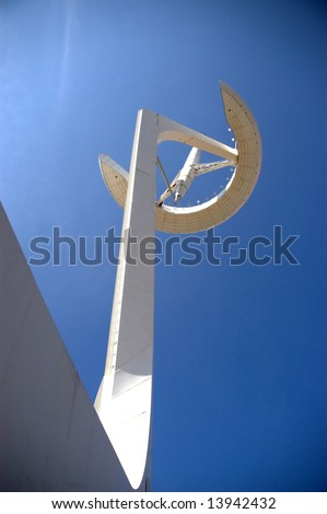 Barcelona - Olympic park telecommunications tower designed by Santiago Calatrava. Montjuic hill. - stock photo