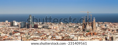 Barcelona panorama - stock photo