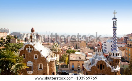 Barcelona Park Guell of Gaudi Gingerbread and fairy tale houses - stock photo