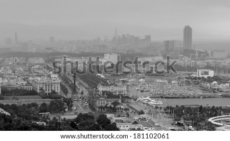 Barcelona port panoramic view on foggy day black and white - stock photo