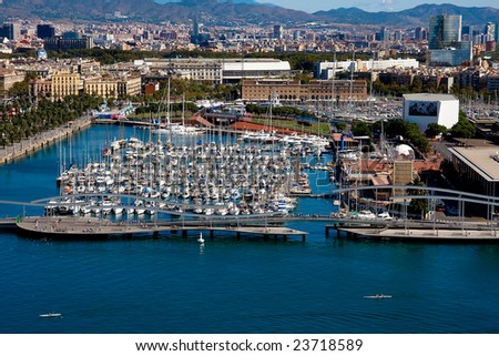 Barcelona port view from air - stock photo