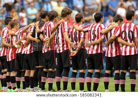 BARCELONA - SEP,23: Athletic Club Bilbao team in silence minute before a Spanish League match between RCD Espanyol vs Bilbao at the Estadi Cornella on September 23, 2013 in Barcelona, Spain - stock photo