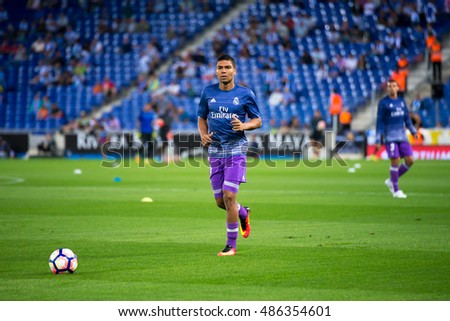 BARCELONA - SEP 18: Casemiro plays at the La Liga match between RCD Espanyol and Real Madrid CF at RCDE Stadium on September 18, 2016 in Barcelona, Spain.