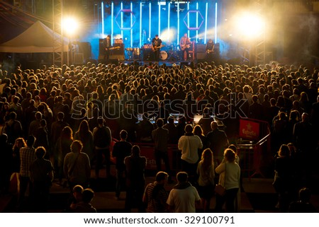 BARCELONA - SEP 5: Crowd in a concert at Tibidabo Live Festival on September 5, 2015 in Barcelona, Spain. - stock photo