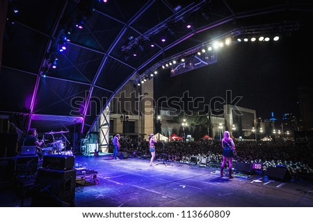 "BARCELONA - SEP 22: Dover rock band performs at the ""Hard Rock Rocks La Merce"" concert within La Merce celebrations on September 22, 2012 in Barcelona, Spain - stock photo"