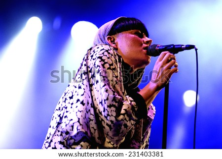 BARCELONA - SEP 23: Frida Sundemo (Swedish singer) performs at Barcelona Accio Musical (BAM) La Merce Festival on September 23, 2014 in Barcelona, Spain. - stock photo