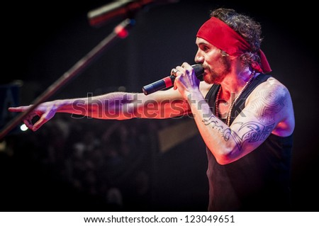 "BARCELONA - SEP 22: Spanish singer Macaco performs at the ""Hard Rock Rocks La Merce"" concert within La Merce celebrations on September 22, 2012 in Barcelona, Spain"
