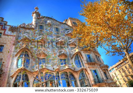 BARCELONA - SEP 27 The facade of the house famous Casa Battlo (also could the house of bones) designed by Antoni Gaudi with his famous expressionistic style in HDR on Sep 27, 2014 Barcelona, Spain - stock photo