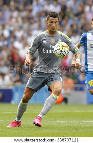 BARCELONA - SEPT, 12: Cristiano Ronaldo of Real Madrid during a Spanish League match against RCD Espanyol at the Power8 stadium on September 12 2015 in Barcelona Spain - stock photo