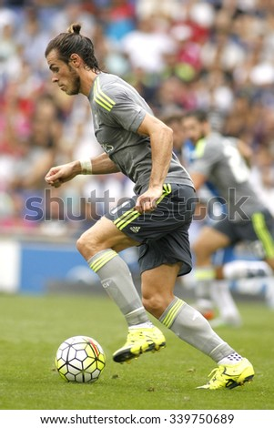 BARCELONA - SEPT, 12: Gareth Bale of Real Madrid during a Spanish League match against RCD Espanyol at the Power8 stadium on September 12, 2015 in Barcelona Spain - stock photo