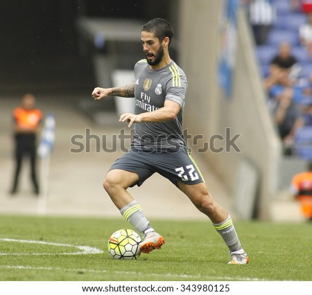 BARCELONA - SEPT, 12: Isco Alarcon of Real Madrid during a Spanish League match against RCD Espanyol at the Power8 stadium on September 12 2015 in Barcelona Spain - stock photo