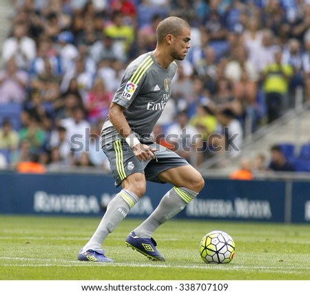 BARCELONA - SEPT, 12: Pepe Lima of Real Madrid during a Spanish League match against RCD Espanyol at the Power8 stadium on September 12 2015 in Barcelona Spain - stock photo