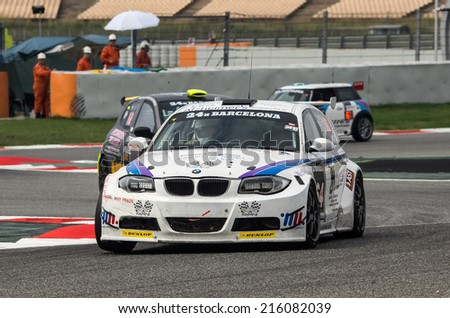 BARCELONA - SEPTEMBER 6: BMW car at 24 HOURS ENDURANCE RACE at Catalunya Circuit on September 6, 2014 in Barcelona, Spain.  - stock photo