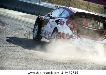 BARCELONA - SEPTEMBER 19: Driver at FIA WORLD RALLYCROSS CHAMPIONSHIP at Circuit de Catalunya on September 19, 2015, in Barcelona, Spain.