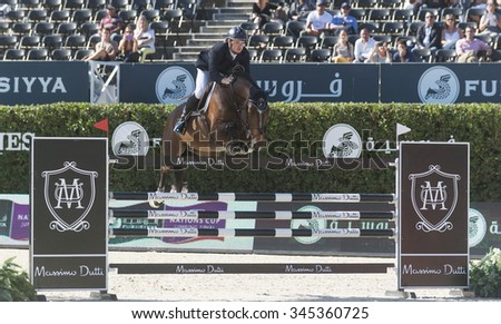 BARCELONA - SEPTEMBER 24: Jamie Kermond rider in action during the Furusiyya Nations Final Cup in Real Club Polo Barcelona, on September 24, 2015, Barcelona, Spain.  - stock photo