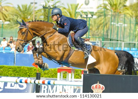 BARCELONA - SEPTEMBER 22: Luca Marziani rider in action during the CSIO 101th International jumping competition in Real Club Polo Barcelona, on September 22, 2012, Barcelona, Spain.