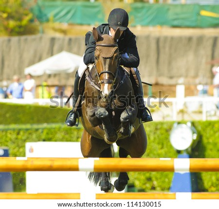 BARCELONA - SEPTEMBER 22: Mario Wilson Fernandes rider in action during the CSIO 101th International jumping competition in Real Club Polo Barcelona, on September 22, 2012, Barcelona, Spain. - stock photo