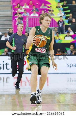 BARCELONA - SEPTEMBER 11: Mindaugas Kuzminskas of Lithuania in action at FIBA World Cup basketball match between USA Team and Lithuania, final score 96-68, on September 11, 2014, in Barcelona, Spain. - stock photo