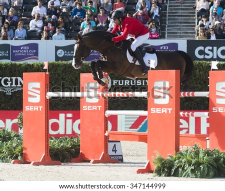 BARCELONA - SEPTEMBER 24: Mohamed Talaat rider in action during the Furusiyya Nations Final Cup in Real Club Polo Barcelona, own September 24, 2015, Barcelona, Spain.  - stock photo