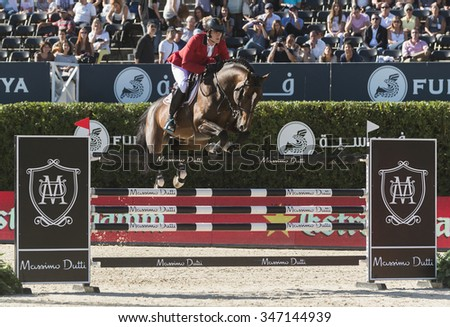 BARCELONA - SEPTEMBER 24: Olivier Philippaerts rider in action during the Furusiyya Nations Final Cup in Real Club Polo Barcelona, own September 24, 2015, Barcelona, Spain.  - stock photo