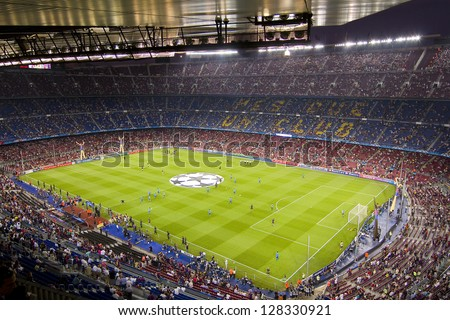 BARCELONA - SEPTEMBER 13: Panoramic view of Camp Nou stadium before the Champions League match between FC Barcelona and AC Milan, final score 2 - 2, on September 13, 2011, in Barcelona, Spain. - stock photo