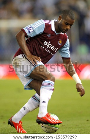 BARCELONA - SEPTEMBER, 5: Ricardo Vaz Te of West Ham United in action during a friendly match against RCD Espanyol at the Estadi Cornella on September 5, 2013 in Barcelona, Spain - stock photo
